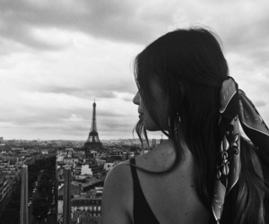 black and white, eiffel tower, and fashion image