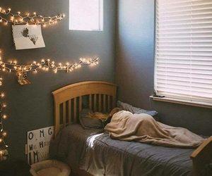 bedroom, girl, and lights image