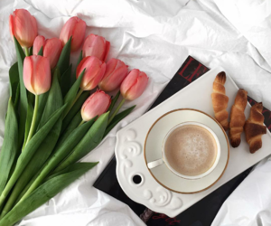 coffee, flowers, and free time image