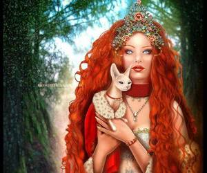 really long hair redhead and crown cat forest image