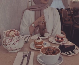 hijab and coffee image