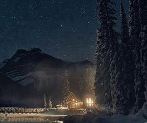 winter, night, and snow image