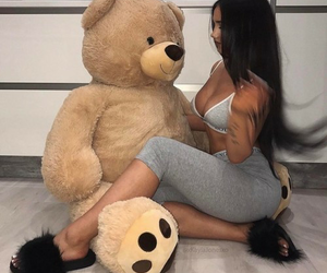 brunette, girl, and nounours image
