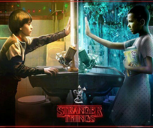 eleven, girl, and stranger things image