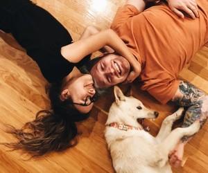 couple, dog, and link image