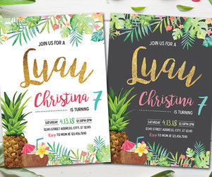 etsy, luau party, and printable invitation image