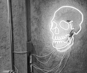 skull, light, and black and white image