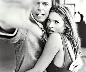 kate moss, david bowie, and black and white image