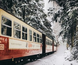 winter, snow, and train image