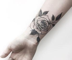 art, rose, and tatto image