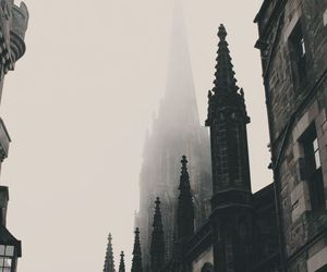 architecture, black and white, and fog image