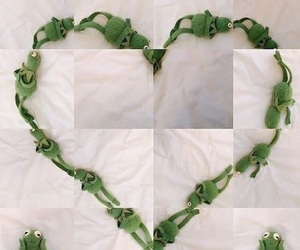 meme, heart, and kermit image
