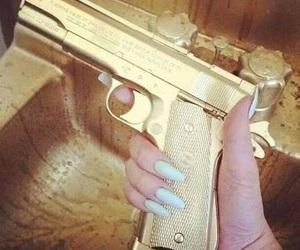 gun, gold, and nails image
