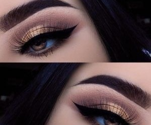 eyebrows, gold, and eyes image