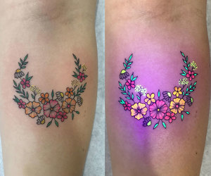 tattoo, floral tattoo, and uv ink image