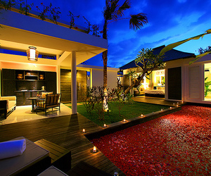 flower petals, luxury mansion, and pool image