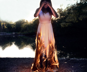 dress, fire, and girl image