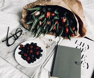 books, food, and bouquet image