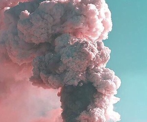 pink, smoke, and teal image