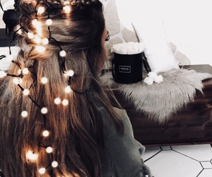 girl, light, and christmas image