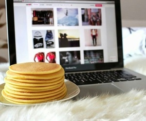 pancakes, food, and laptop image