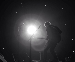 b&w, concert, and crowd image