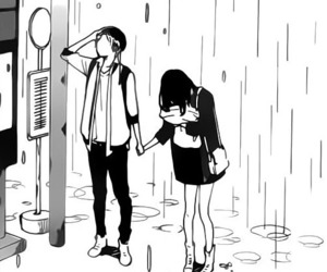 black&white, cute couple, and manga image