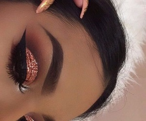 glitter, brows, and cut crease image