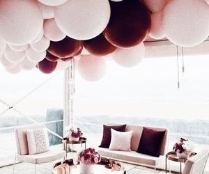 balloons, pink, and home image