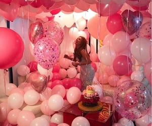 pink, balloons, and birthday image