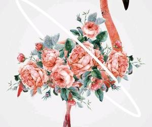 flowers, flamingo, and art image