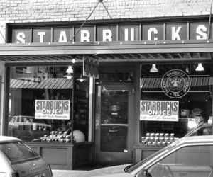black and white, black&white, and coffee shop image
