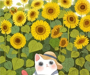 animal, cat, and floral image