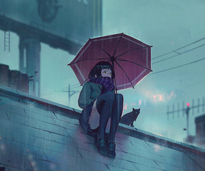 rain, anime, and art image