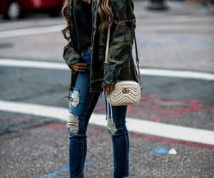 hair hairstyle, denim jeans destroyed, and fashion fashionable cute image