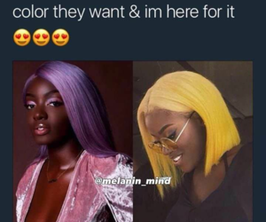 colors, hair, and black girls image