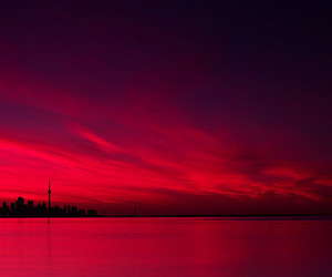 maroon, red, and sunrise image
