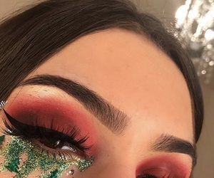 green, makeup, and red image