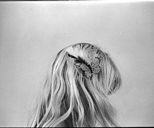 black and white, feather, and hair image