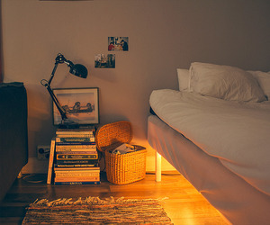 bed, bedroom, and golden image