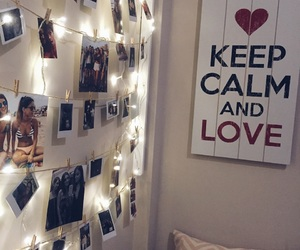 bedroom, lights, and love image