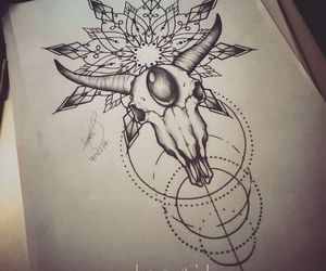 geometry, linework, and skull image