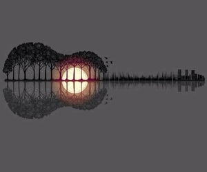 guitar, music, and tree image