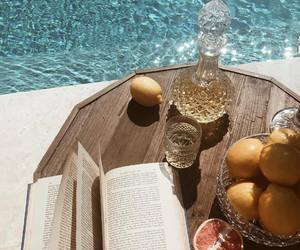 summer, book, and pool image