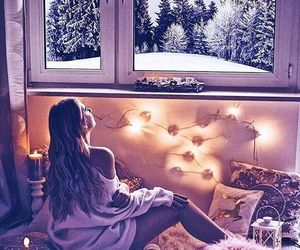 winter, girl, and bed image