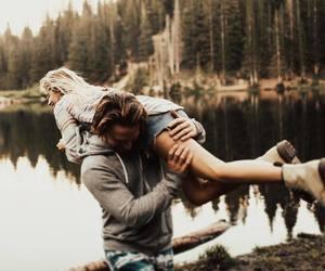 boyfriend, embrace, and girlfriend image