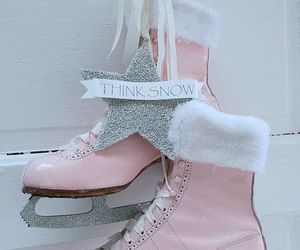 pink, ice skate, and winter image