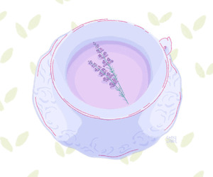 art, tea, and lavender image