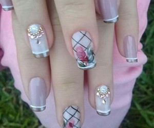 art, nail, and pink image