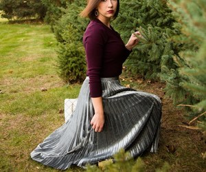 outfit, holidays, and metallic skirt image